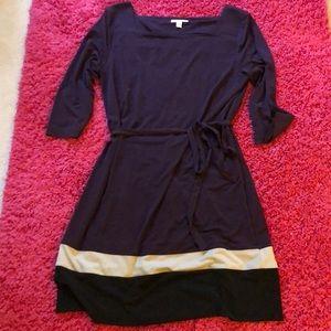 Plum dress with belt